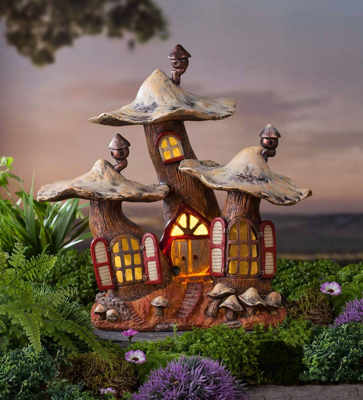 Solar Lighted Three Mushroom Fairy House
