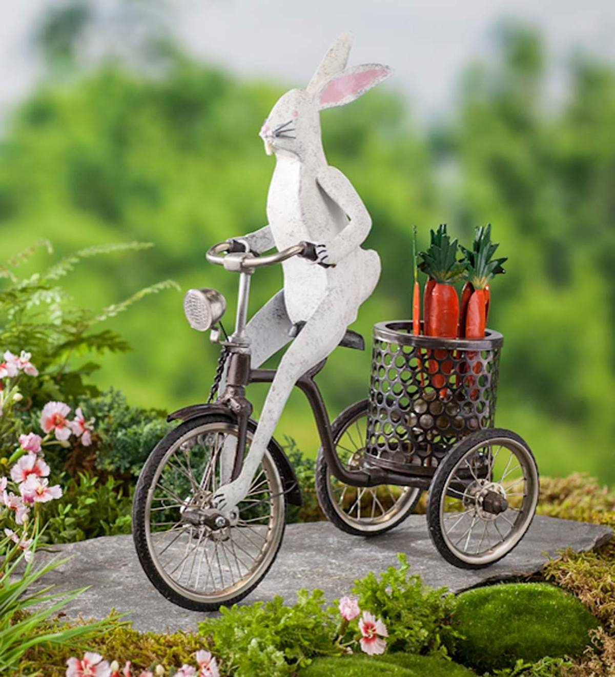 Metal Bunny on Tricycle Indoor/Outdoor Sculpture