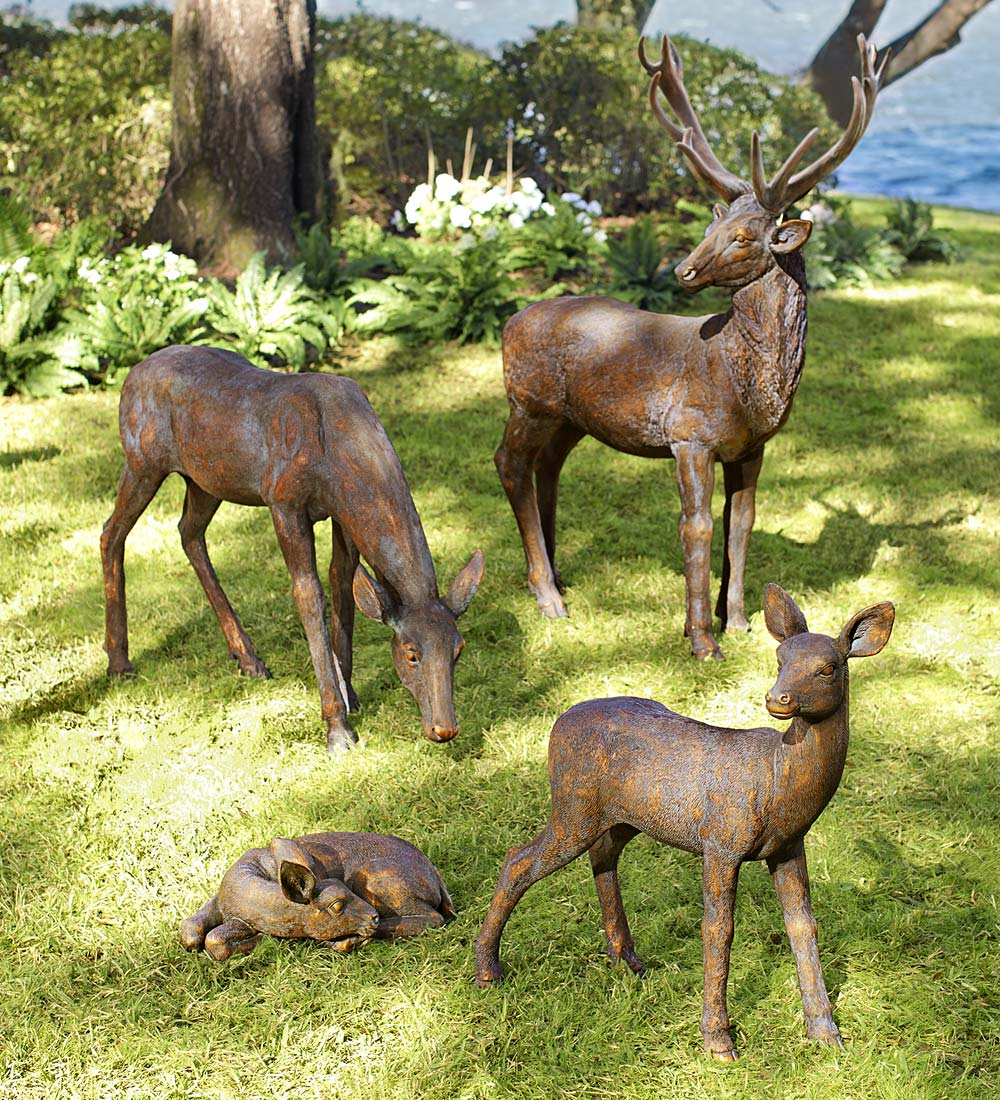 Lifelike Fiberglass Buck and Doe Garden Statuary Set