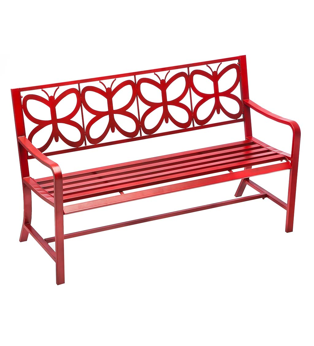 Red Metal Butterfly Garden Bench - Red
