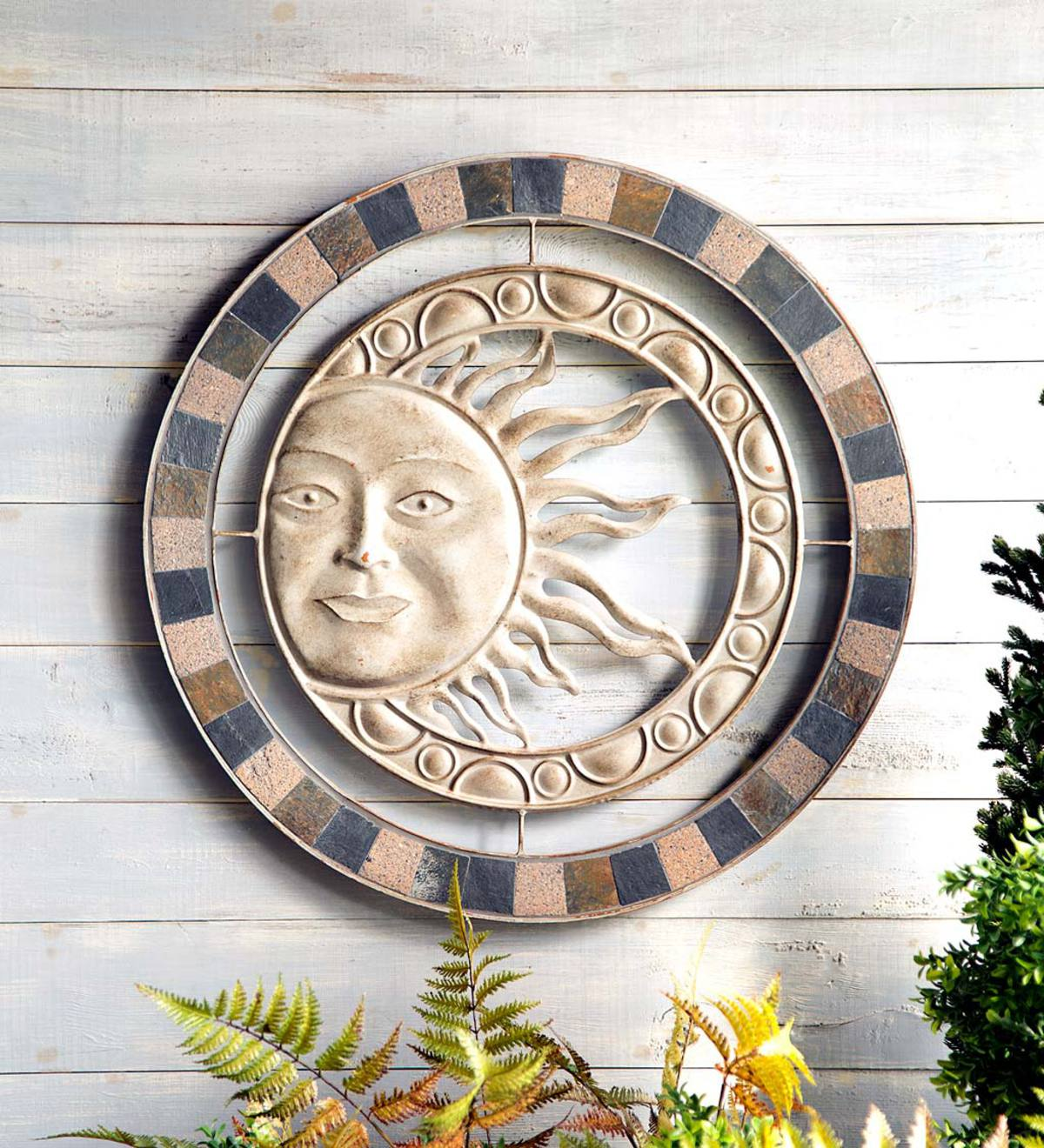 Metal and Stone Sun Wall Art  sc 1 st  Wind and Weather & Metal and Stone Sun Wall Art | Yard u0026 Garden Decor | Hidden and ...