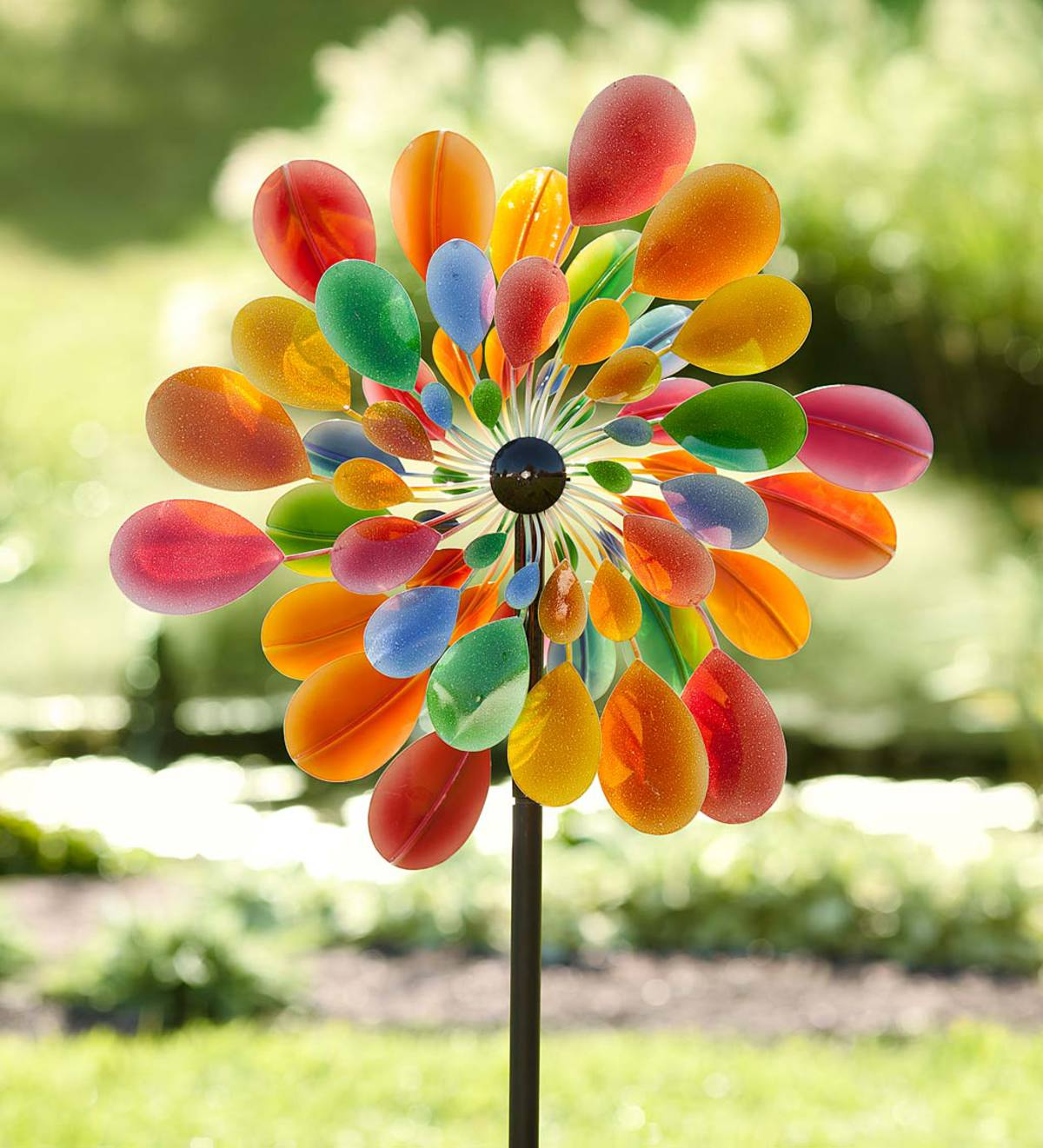 Multi-Colored Many-Petaled Dual Rotor Metal Wind Spinner