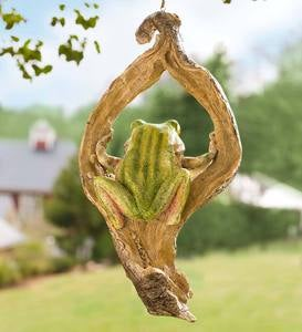 Frog in a Tree Hanging Sculpture