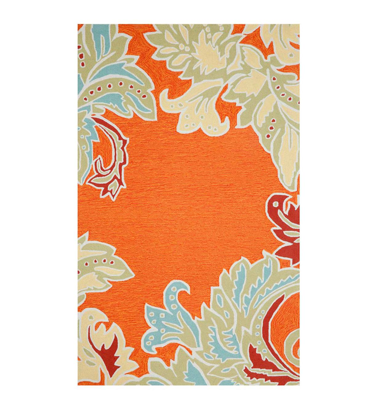 Orange Rug with Ornamental Leaf Border