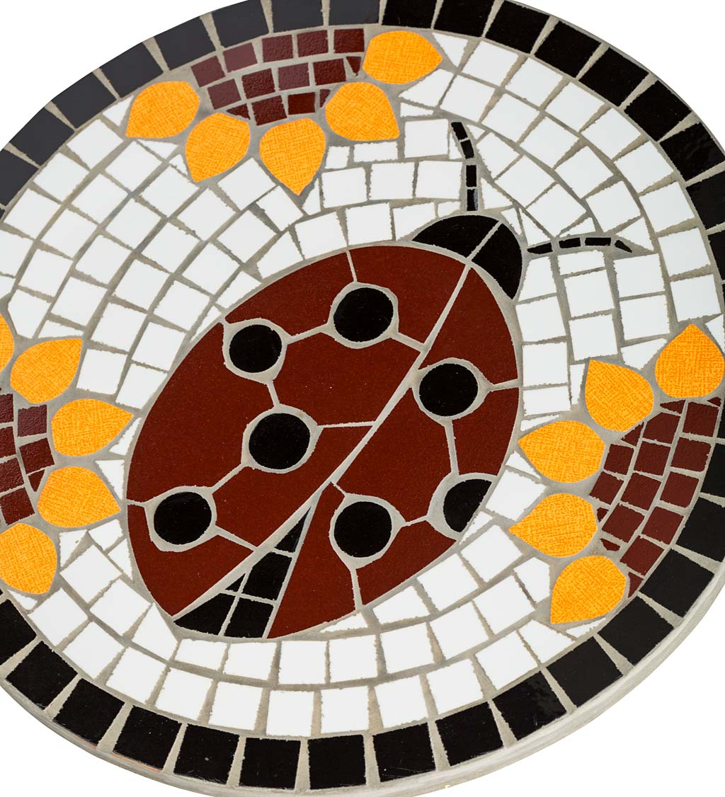 Handcrafted Recycled Ceramic Mosaic and Cast Stone Insect Garden Stone - Ladybug