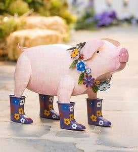 Handcrafted Metal Pig with Flowered Purple Rain Boots