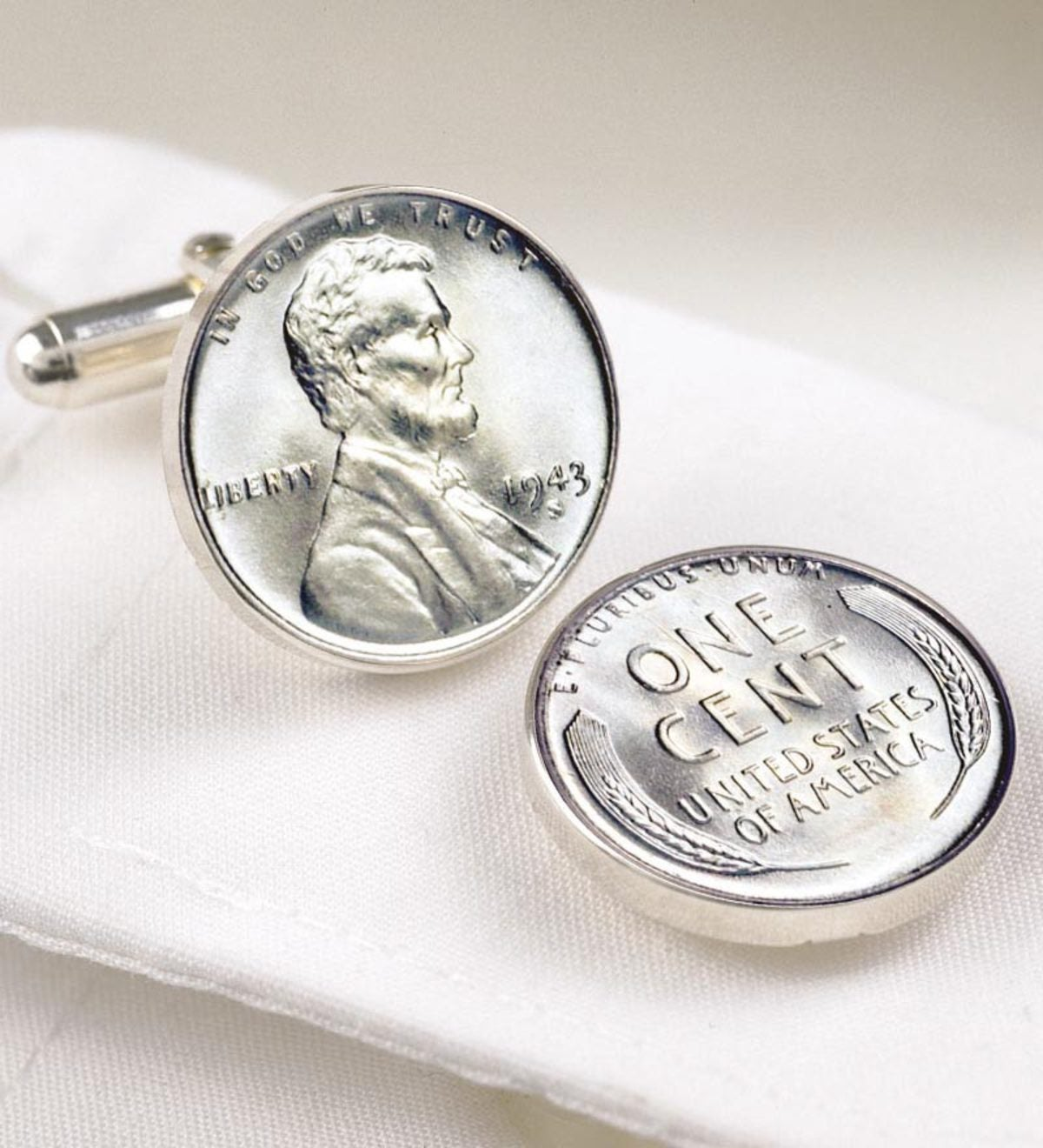 1943 Lincoln Steel Penny Coin Cuff Links Jewelry