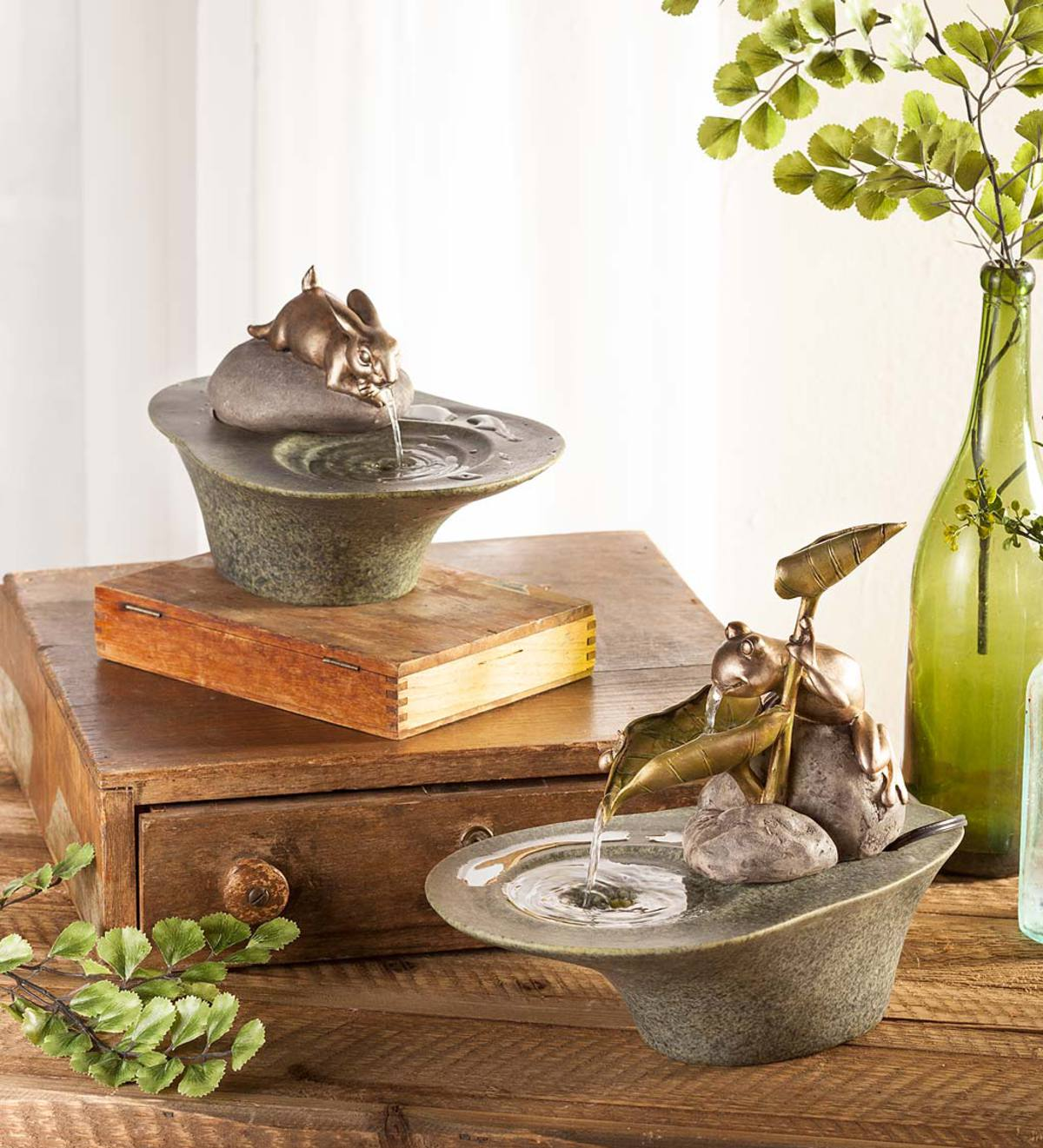 Frog Tabletop Fountain Indoor Fountains Home Decor