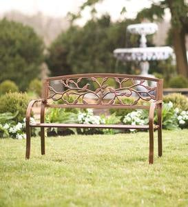 Antiqued Copper-Colored Metal Bench with Tree of Life Motif Backrest
