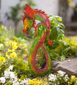 Left-Facing Colorful Metal Dragon Garden Stake