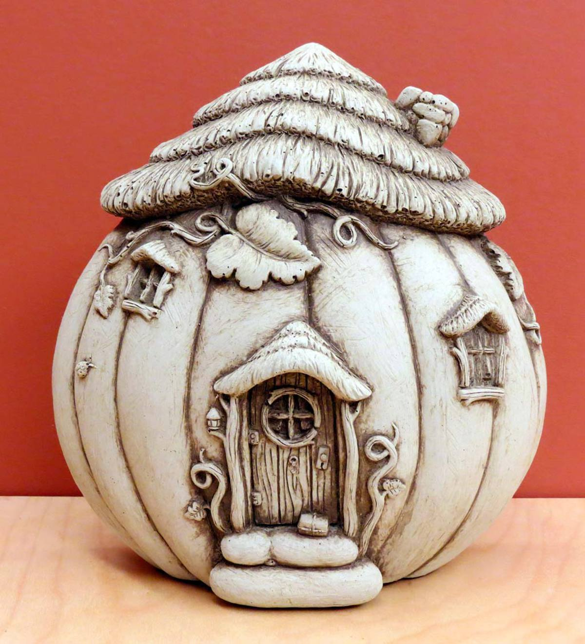 Cast Stone Fairy Home in a Pumpkin
