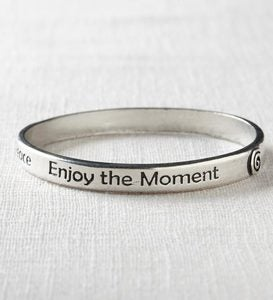 Handcrafted Inspiring Words Pewter Bangle Bracelets - Live Simply