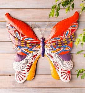 Handcrafted Colorful Metal Butterfly Wall Art