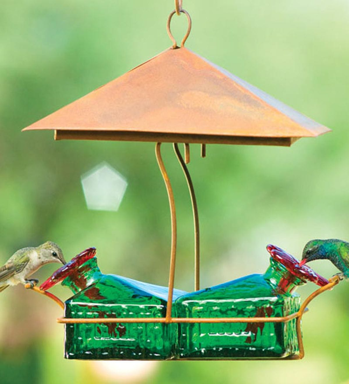 Handcrafted Tin Sheltered Basket Hummingbird Feeder