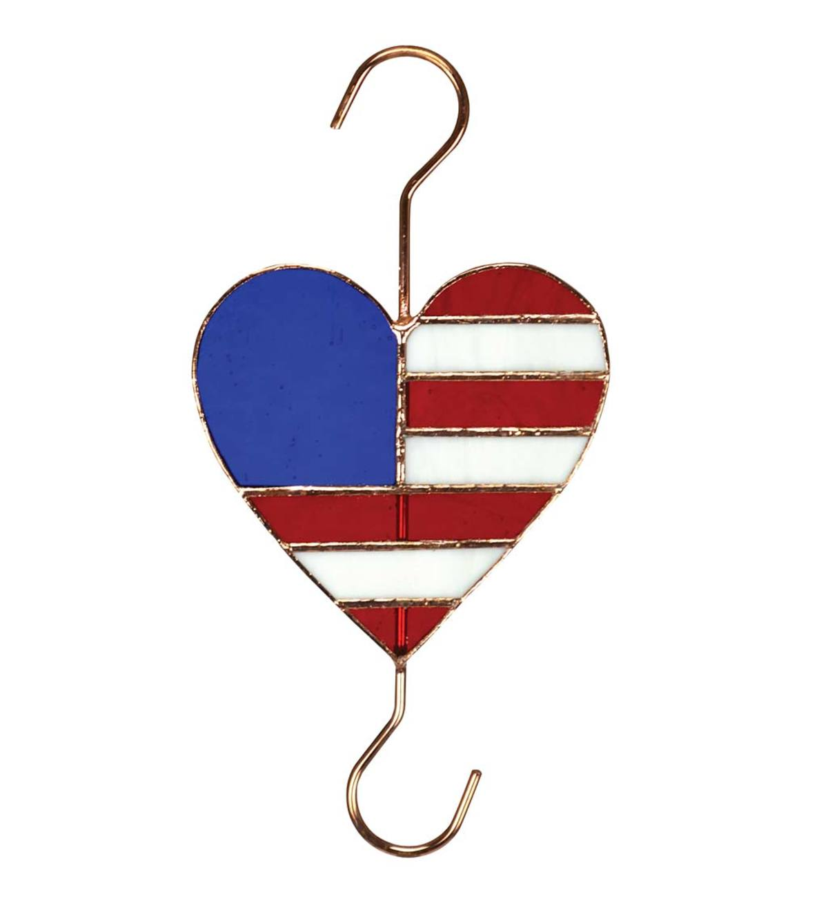 Patriotic Stained Glass and Metal Heart Garden Hook
