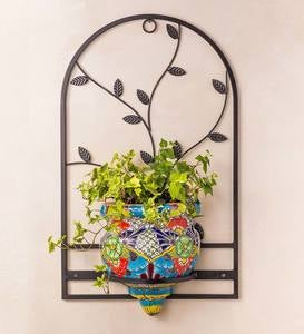 Talavera-Inspired Wall Planter and Wrought Iron Hanger