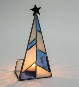 Blue Stained Glass Modern Christmas Tree Candle Holder