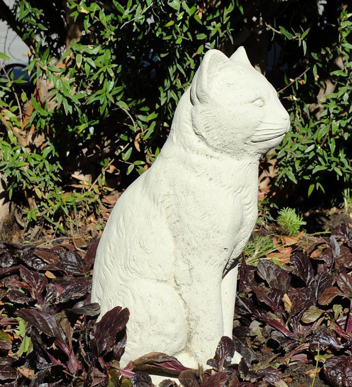 Vintage Sitting Cat Cast Stone Statue