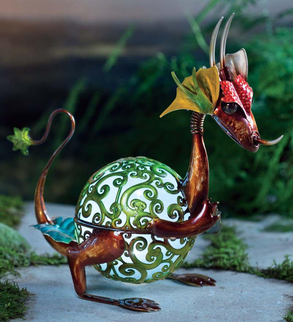 Dragon Garden Sculpture With Solar Globe