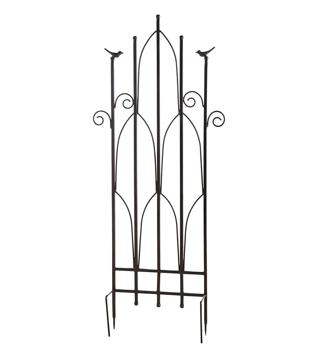 Wrought Iron Decorative Garden Trellis with Two Birds