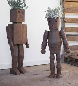 Metal Robot Planters, Set of 2