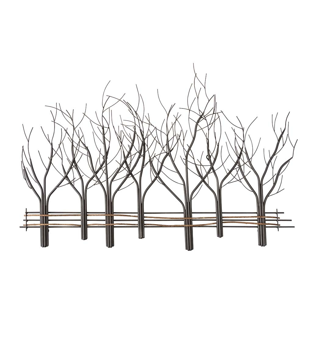 Metal and Natural Vine Seven Winter Trees Wall Art