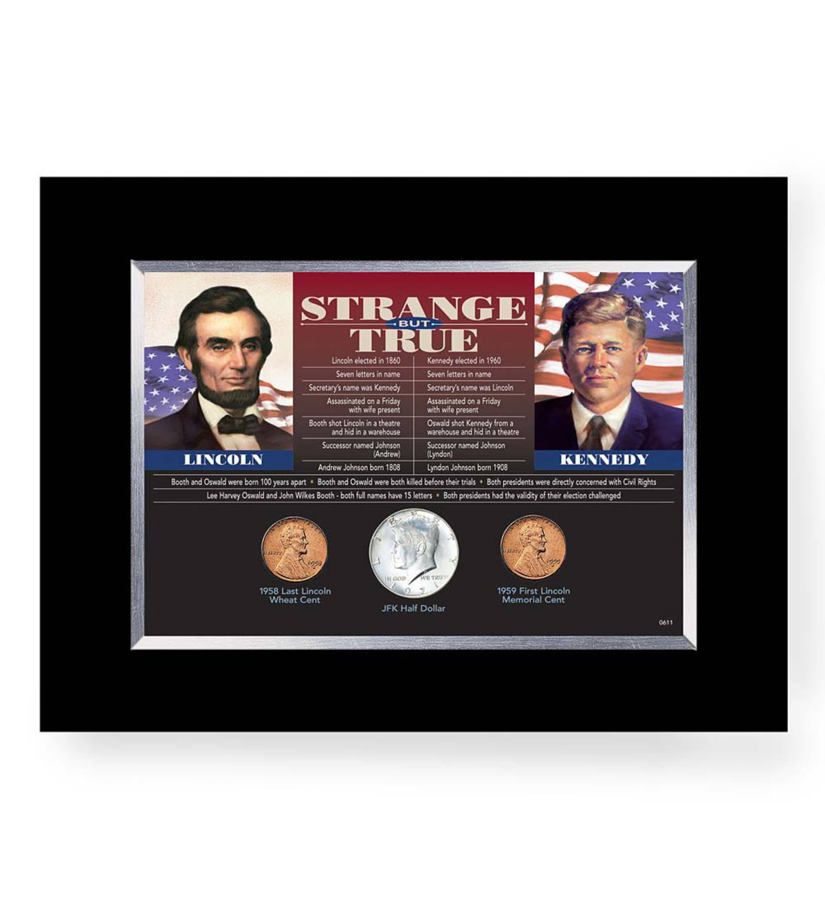 Strange But True, Lincoln and Kennedy Desk Frame with Coin Collection
