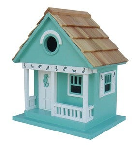 Wood Beach Cottage Birdhouse - Aqua with Seahorse