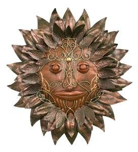 Ornate Bronze-Colored Green Man Metal Wall Art