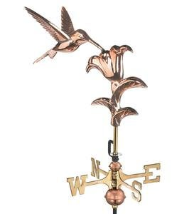 Copper Hummingbird Garden Weathervane with Pole