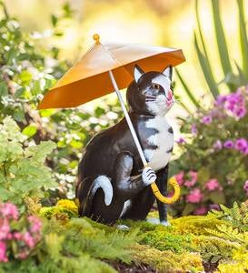 Handcrafted Metal Cat with Umbrella Garden Statue