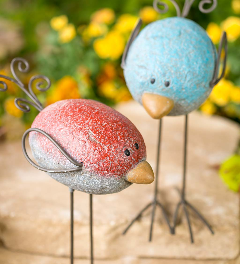 Colorful Resin Rock Birds with Wire Wings, Tails, Legs and Feet, Set of 2