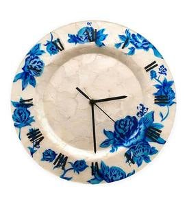 Capiz Wall Clock with Blue Flowers