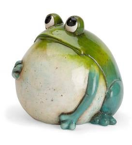 Hand-Painted Indoor/Outdoor Big Belly Ceramic Frog Sculpture