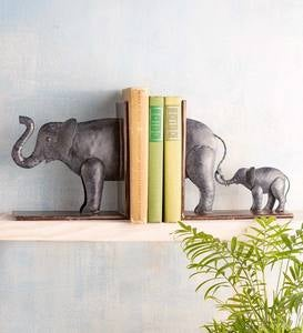 Handcrafted Metal Mother and Baby Elephant Bookends