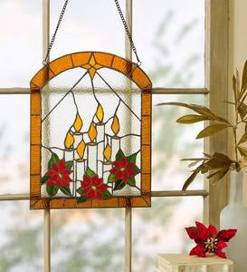 Stained Glass Candle Window Art