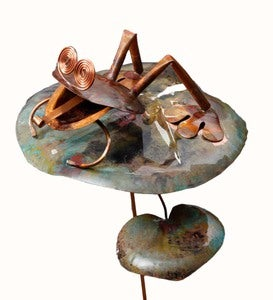 Handcrafted Copper Frog on Lily Pad Garden Stake