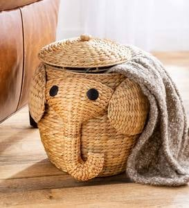 Woven Water Hyacinth Elephant Storage Basket with Lid