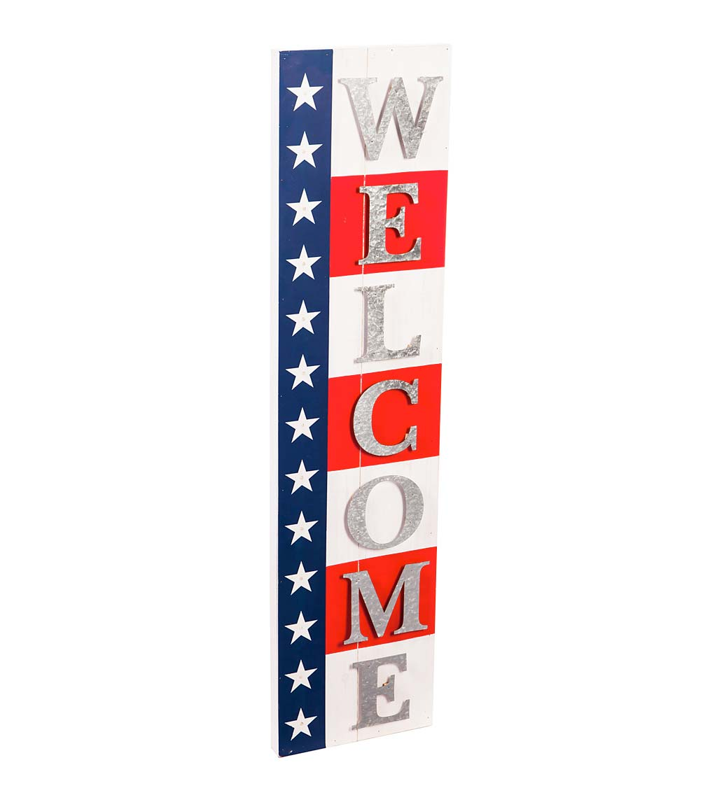 Lighted Americana Welcome Sign Porch Leaner