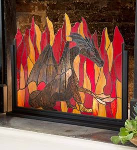 Stained Glass Dragon Firescreen
