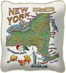 Handcrafted American-Made Cotton Jacquard American States Pillow Covers