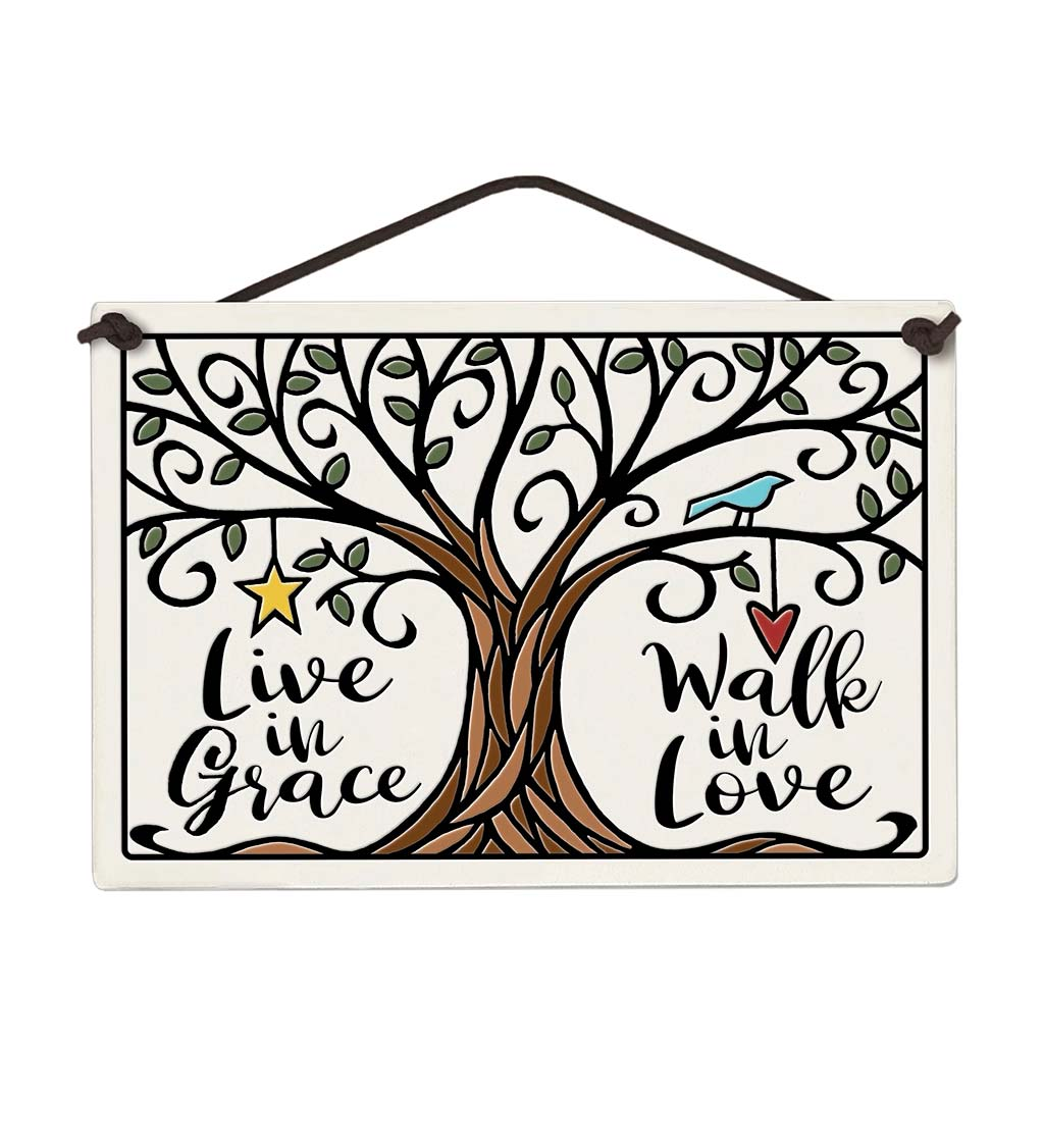 Live in Grace Wall Ceramic Plaque
