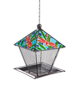 Metal and Ceramic Dragonfly Birdfeeder
