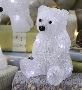 LED-Lighted Polar Bear Cub - Sitting Polar Bear Cub