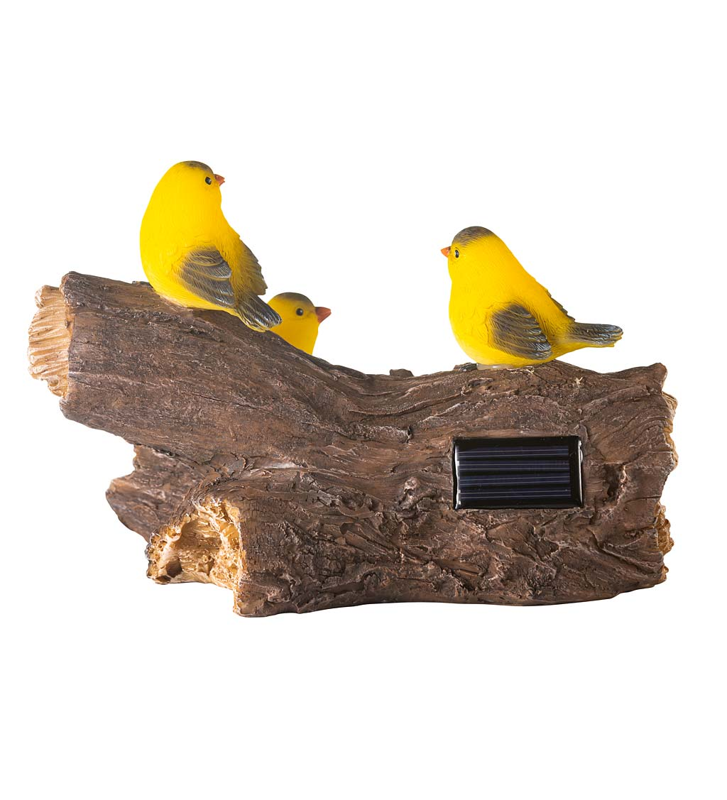 Solar Lighted Yellow Finches on a Log Garden Sculpture