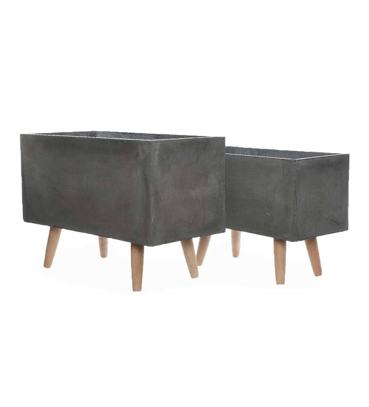 Clay Planters on Wooden Legs, Set of 2 - Dark Gray
