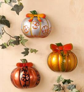 Small Metal Pumpkin Wall Art, Set of 3