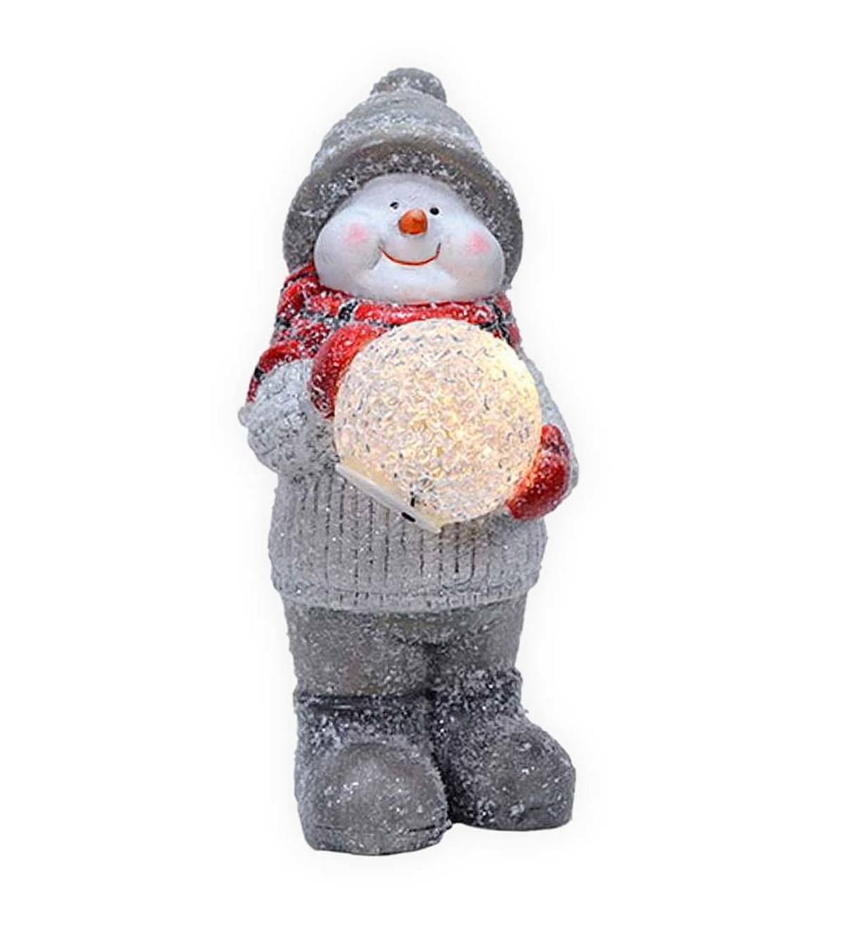 Ceramic Snowman with Lighted Snowball
