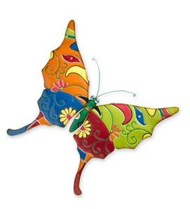 Talavera-Style Bug Metal Wall Art - Butterfly
