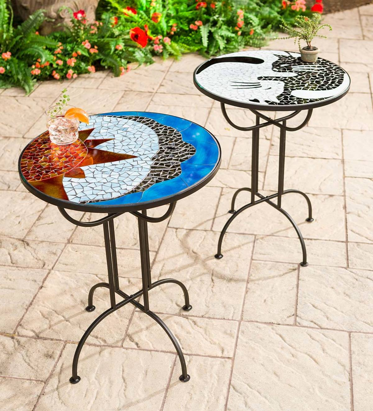 Metal and Glass Mosaic-Top Side Table
